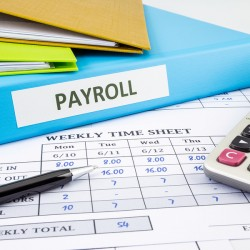 PAYROLL word on blue binder place on weekly time sheet and payroll summary report human resources concept